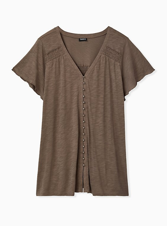 Plus Size Dark Taupe Slub Button Front Swing Top , , hi-res