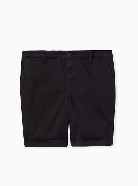 Plus Size Bermuda Chino Short - Twill Black, , hi-res