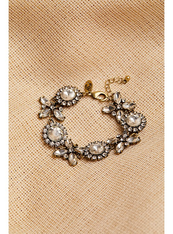 Plus Size Vintage Gold-Tone Rhinestone Bracelet , , hi-res