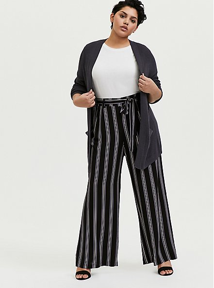 Black Multi Stripe Challis Self Tie Wide Leg Pant, STRIPES, alternate