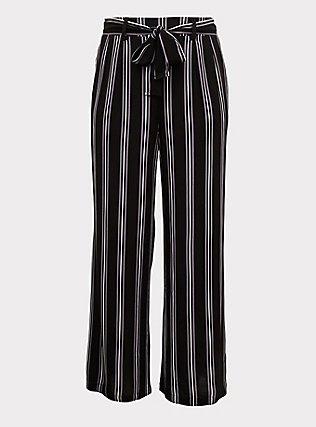Black Multi Stripe Challis Self Tie Wide Leg Pant, STRIPES, flat
