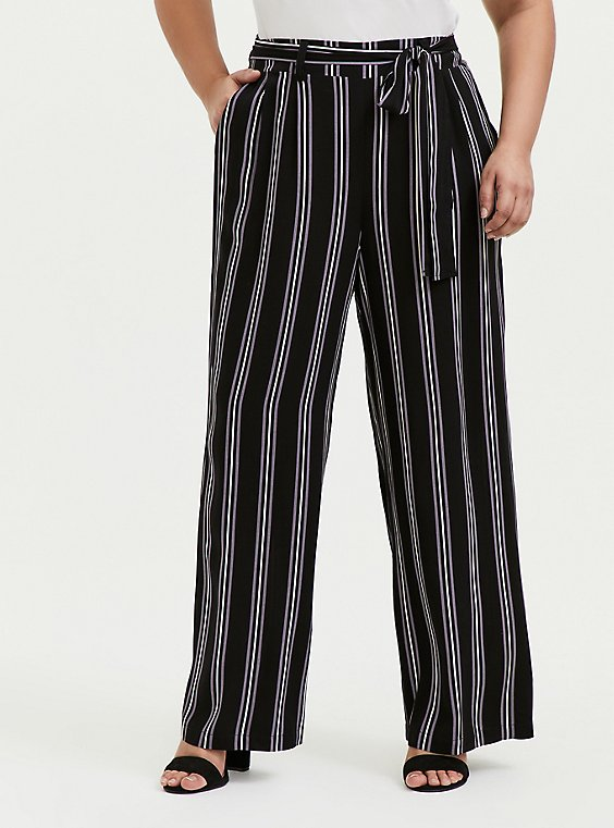 Black Multi Stripe Challis Self Tie Wide Leg Pant, , hi-res