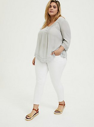 Plus Size Light Stone Grey Gauze Button Down Handkerchief Tunic Blouse, OYSTER MUSHROOM, alternate