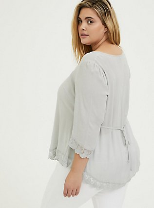 Light Stone Grey Gauze Button Down Handkerchief Tunic Blouse, OYSTER MUSHROOM, alternate