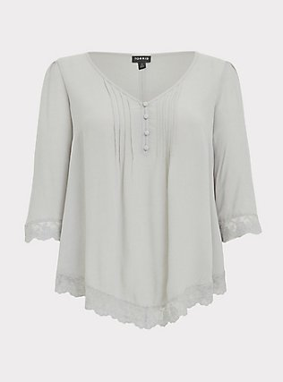 Plus Size Light Stone Grey Gauze Button Down Handkerchief Tunic Blouse, OYSTER MUSHROOM, flat