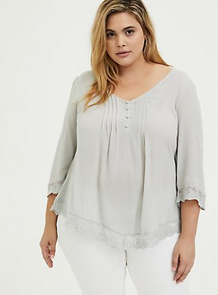 Plus Size Light Stone Grey Gauze Button Down Handkerchief Tunic Blouse, OYSTER MUSHROOM, hi-res