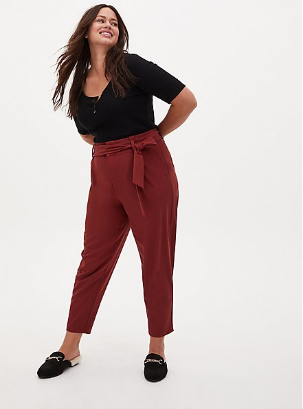 Plus Size Brown Self Tie Tapered Pant, MADDER BROWN, alternate