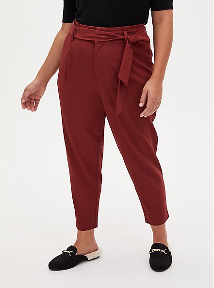 Plus Size Brown Self Tie Tapered Pant, MADDER BROWN, hi-res