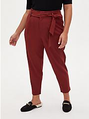 Brown Self Tie Tapered Pant, MADDER BROWN, hi-res