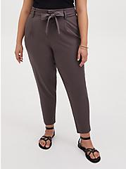 Dark Slate Grey Crosshatch Self Tie Tapered Pant , SARASEN GREY, hi-res