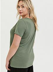 Overthink This Light Olive Green Crew Tee, AGAVE GREEN, alternate