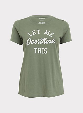 Overthink This Light Olive Green Crew Tee, AGAVE GREEN, flat