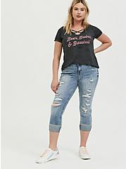 Beer Babes & Baseball Charcoal Grey Burnout Crisscross Tee, CHARCOAL HEATHER, alternate