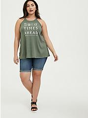 Good Times Ahead Light Olive Green High Neck Tank, AGAVE GREEN, alternate
