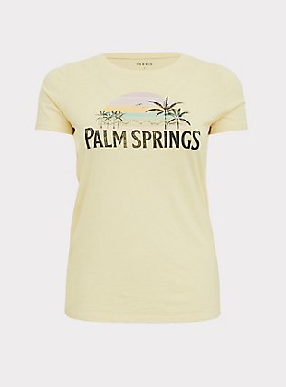 Palm Springs Classic Fit Crew Tee - Vintage Burnout Light Yellow, BUTTER YELLOW, flat