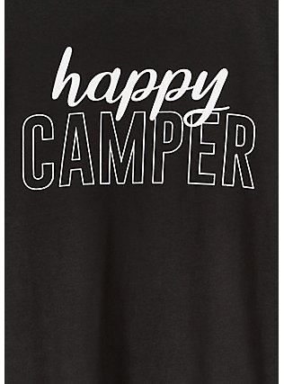 Happy Camper Black Slim Fit Crew Tee, DEEP BLACK, alternate