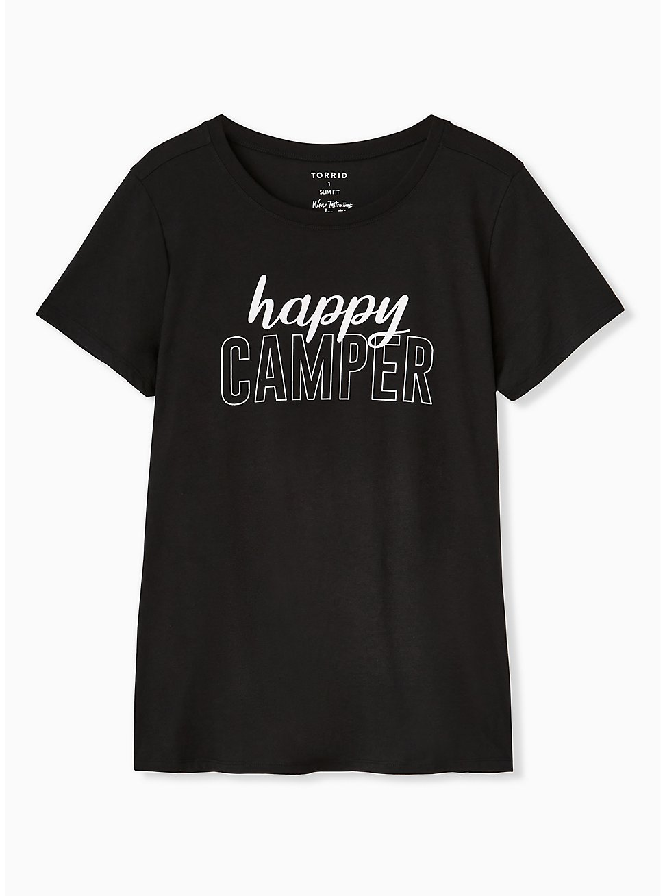 Happy Camper Black Slim Fit Crew Tee, DEEP BLACK, hi-res