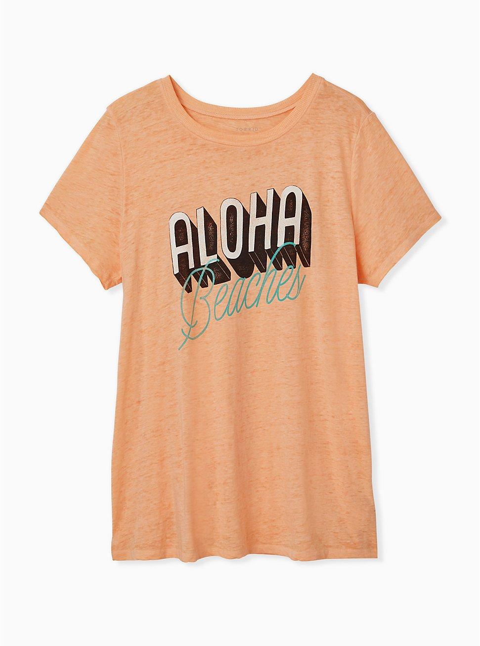 Aloha Beaches Peach Burnout Crew tee, , hi-res