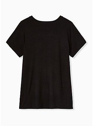 Super Soft Black Good Vibes Embroidered Crew Tee, DEEP BLACK, alternate