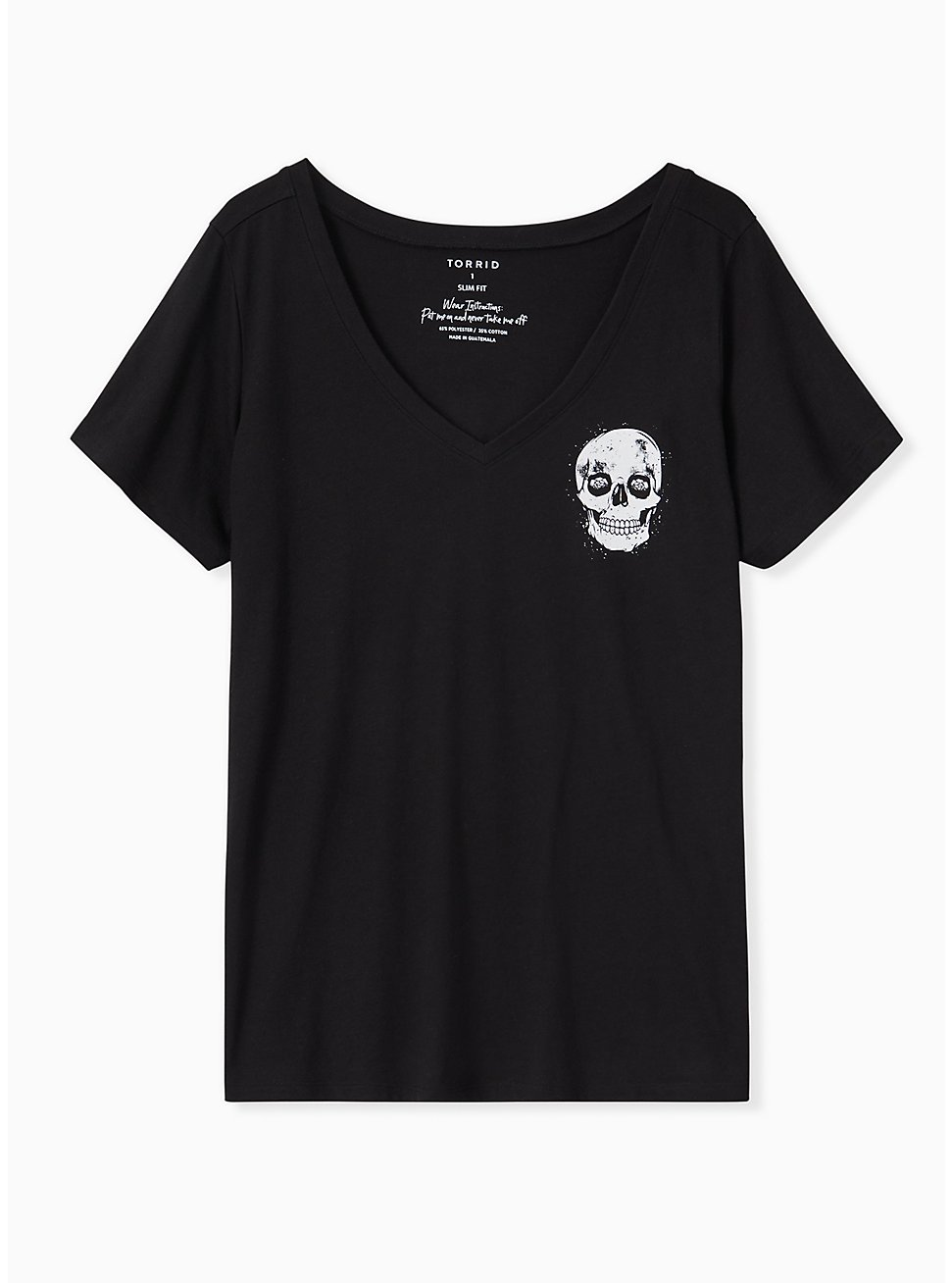 Wrong Things Skull Black V-Neck Tee, DEEP BLACK, hi-res