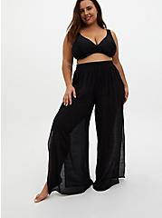 Black Crinkled Gauze Side Slit Pant Swim Cover-Up, MULTI, alternate