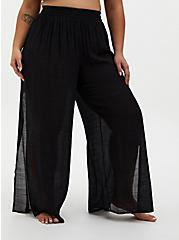Black Crinkled Gauze Side Slit Pant Swim Cover-Up, MULTI, hi-res