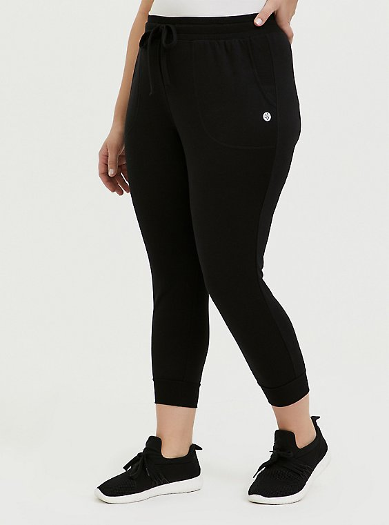 Black Active Crop Jogger, DEEP BLACK, hi-res