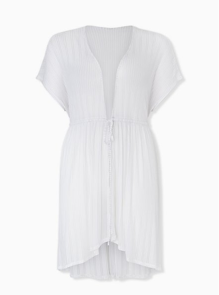 Plus Size White Lurex Stripe Kaftan Swim Cover Up, BRIGHT WHITE, hi-res