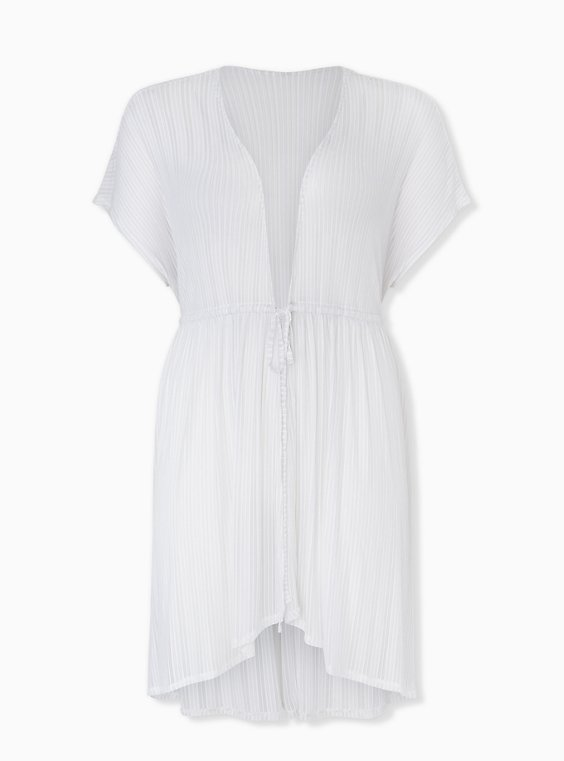 White Lurex Stripe Kaftan Swim Cover Up, , hi-res