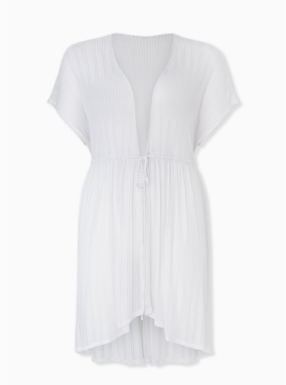 White Lurex Stripe Kaftan Swim Cover Up, BRIGHT WHITE, hi-res