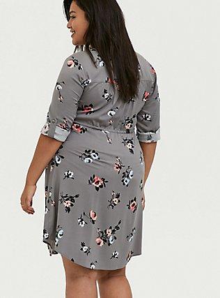 Grey Floral Challis Zip Front Drawstring Shirt Dress, FLORALS-GREY, alternate