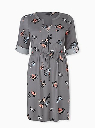 Grey Floral Challis Zip Front Drawstring Shirt Dress, FLORALS-GREY, flat