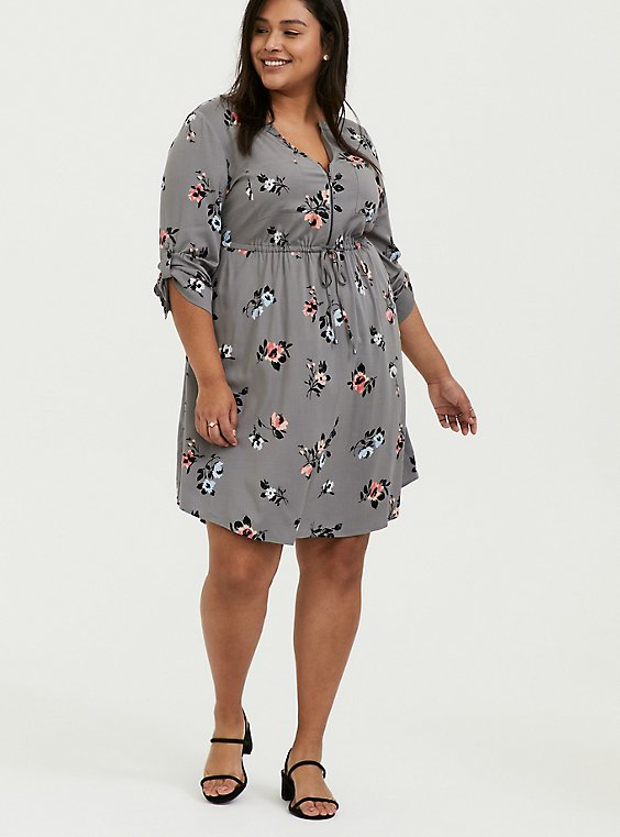 Grey Floral Challis Zip Front Drawstring Shirt Dress, , hi-res