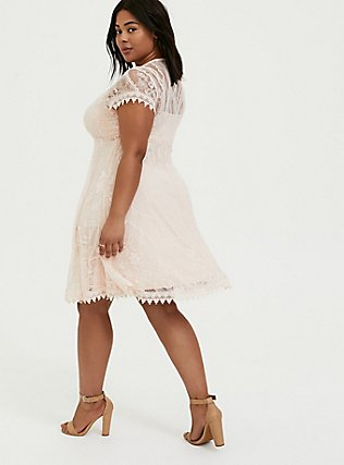Light Pink Lace & Crochet Button Front Dress, PEACH BLUSH, alternate