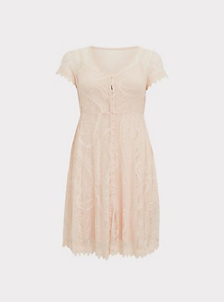 Light Pink Lace & Crochet Button Front Dress, PEACH BLUSH, flat