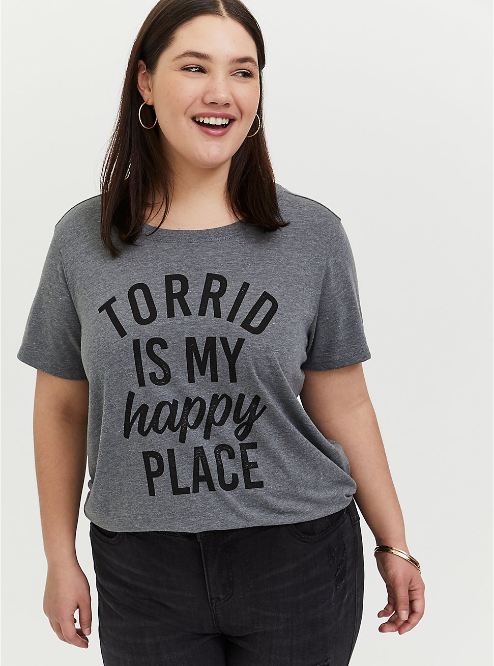 Torrid Is My Happy Place Grey Crew Tee, MEDIUM HEATHER GREY, hi-res