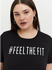 #FeelTheFit Black Crew Tee, DEEP BLACK, hi-res