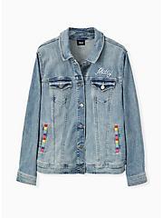 Plus Size Disney Mickey Mouse Rainbow Denim Jacket - Medium Wash, MEDIUM WASH, alternate