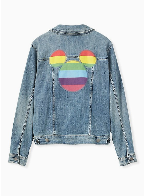 Disney Mickey Mouse Rainbow Denim Jacket - Medium Wash, , hi-res