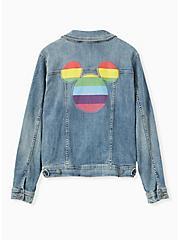 Plus Size Disney Mickey Mouse Rainbow Denim Jacket - Medium Wash, MEDIUM WASH, hi-res