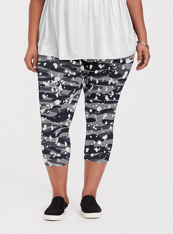Crop Premium Legging - Splatter & Camo Grey, , hi-res