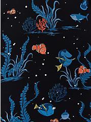 Disney Pixar Finding Nemo Dory & Marlin Black Challis Button Tie Front Top, MULTI, alternate