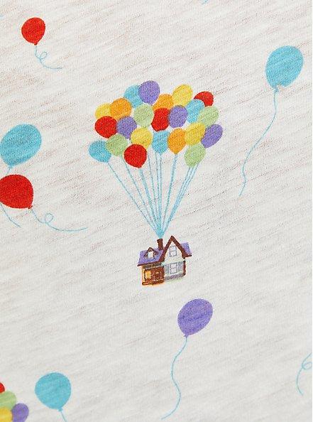Disney Pixar Up Balloon White Slub Jersey Tie Sleeve Top, MULTI, alternate