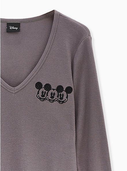 Disney Mickey Mouse Slate Brown Waffle Knit Top, DARK GREY, alternate