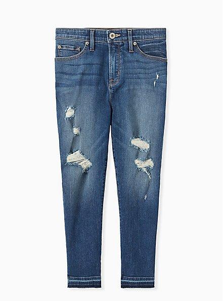 Crop Sky High Skinny Jean - Premium Stretch Medium Wash with Release Hem, BRIGHTON, hi-res