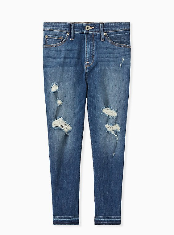 Plus Size Crop Sky High Skinny Jean - Premium Stretch Medium Wash with Release Hem, , hi-res