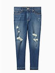 Crop Sky High Skinny Jean - Premium Stretch Medium Wash with Release Hem, BRIGHTON, hi-res
