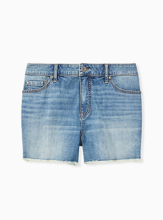 Plus Size High Rise Short Short - Vintage Stretch Medium Wash, , hi-res