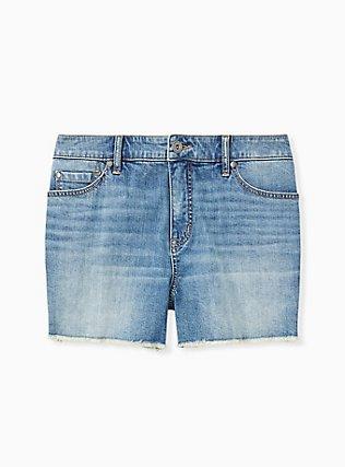 Plus Size High Rise Short Short - Vintage Stretch Medium Wash, SLOW MOTION, hi-res