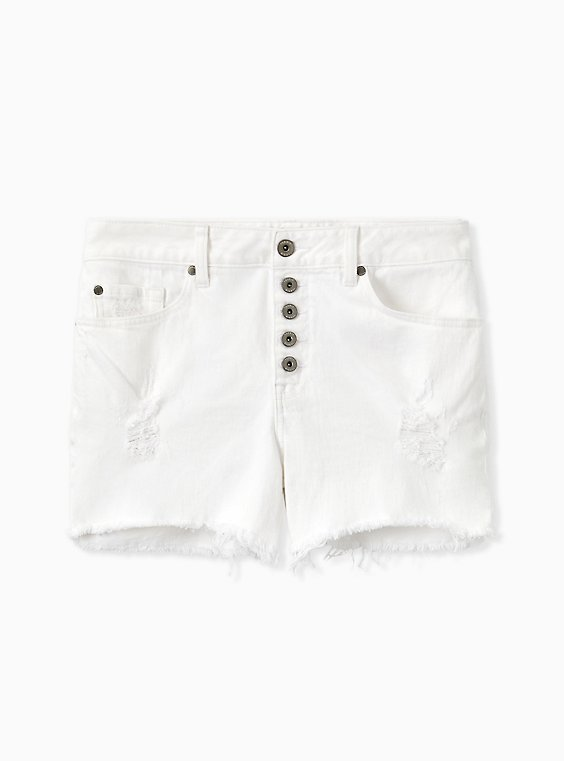 Plus Size High Rise Short Short - Vintage Stretch White, , hi-res